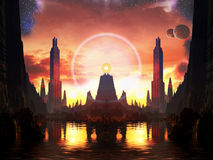 Free Beacon Of Light In Alien Metropolis Royalty Free Stock Photos - 28444428