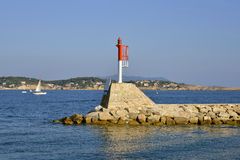 Beacon in the port of Bandol in France Stock Photography