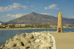 Beacon in Puerto Banus, Marbella, Spain Stock Image