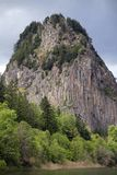 Beacon Rock. Is the remaining evidence of a Volcanic plug   the softer sediments have eroded away leaving this Giant Basalt Monolith, early Pioneers to the Stock Photo