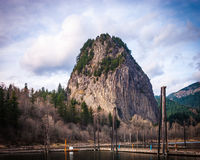 Beacon Rock. Is one of the most prominent and distinctive geological features in the Columbia River Gorge Royalty Free Stock Photos