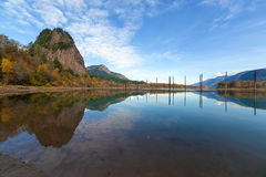Beacon Rock Reflection. Beacon Rock State Park in Washington State Reflected in the Water of Columbia River Gorge in Fall Season Stock Photos