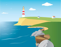 Beacon on the seashore. Color vector landscape with beacon and sea royalty free illustration