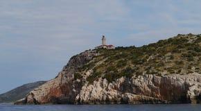 The beacon of Skrivena luka a bay pof Lastovo Stock Image