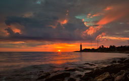 Beacon on a sunset. Sevastopol, the Crimea Royalty Free Stock Images