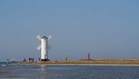 Beacon in Swinoujscie stock image