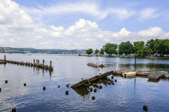 Beacon Waterfront. Beacon ferry landing overlooking Hudson River toward the city of Newburgh Royalty Free Stock Images