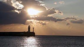 Beacon in Yalta at sunrise stock video footage