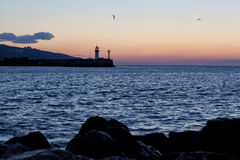 Beacon in Yalta at sunrise Royalty Free Stock Photos