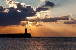 Beacon in Yalta at sunrise Stock Photography