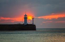 Beacon in Yalta at sunrise Stock Image