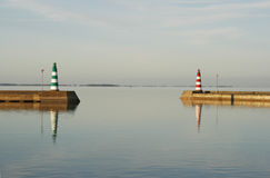 Beacons. Two beacons opposite each other in calm seas Royalty Free Stock Image