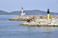Beacons in the port of Cavalaire in France Stock Photos