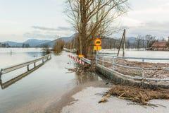 Beacouse de barrage de route des inondations Image libre de droits