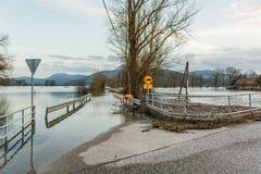 Beacouse de barrage de route des inondations Photographie stock libre de droits
