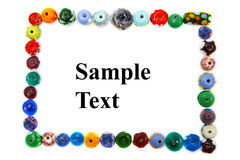 Bead border. Colorful bead frame isolated on white stock photography