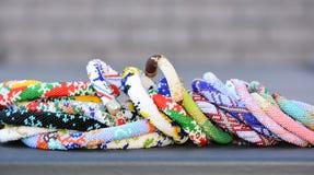 Bead crochet bracelets variety Stock Image