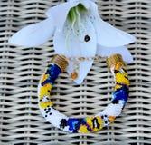 Bead crochet bracelet `Minions` Stock Photos