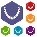 Bead icons set hexagon Royalty Free Stock Images
