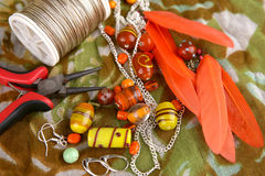 Bead jewelry making as a hobby Royalty Free Stock Photography