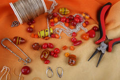 Bead jewelry making as a hobby Royalty Free Stock Photo