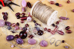 Bead jewelry making as a hobby Royalty Free Stock Images