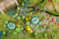 Bead jewelry making as a hobby Stock Images