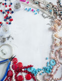 Bead making accessories background Stock Photos
