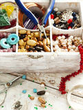 Bead making accessories. In wooden box stock photography