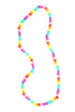 Bead necklace. Close-up of a colorful bead necklace isolated on white background stock photos