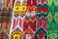 Bead necklaces display, Ukrainian ornamental decoration, Ukraine Stock Image
