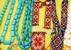 Bead necklaces ornamental decoration jewelery. Bead necklaces ornamental decoration jewelery Stock Photo