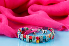 Bead necklaces with sari Royalty Free Stock Photography