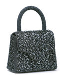 Beaded handbag black trim. Bead and sequin embellished pocket black Royalty Free Stock Photo