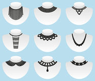 Bead silhouettes set. Vector black illustration Royalty Free Stock Images