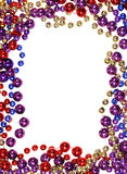 Bead string outline. Vertical image of border outline frame of  Mardi Gras bead necklaces isolated on white Royalty Free Stock Image