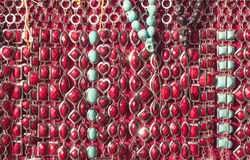 Bead threds in shades of red Stock Photo