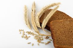 Bead and wheat ears. Bread, rye ears and grains Royalty Free Stock Photos