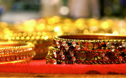 Beaded Bangles for sale in Indian Fashion store Stock Photography