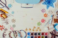 Set for beading. Beaded, box with snowflakes for Christmas tree, handmade Stock Photos