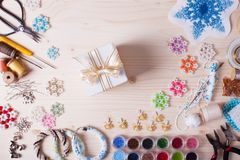 Set for beading. Beaded, box with snowflakes for Christmas tree, handmade Stock Image