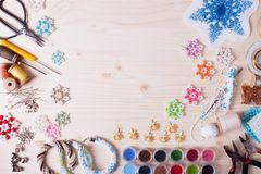 Set for beading. Beaded, box with snowflakes for Christmas tree, handmade Royalty Free Stock Images