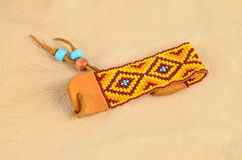 Beaded Bracelet on Buckskin Stock Image