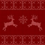 Beaded Christmas ornament reindeer and snowflakes Stock Image