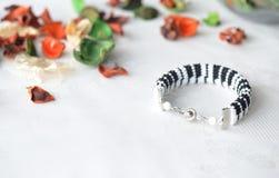Beaded crochet bracelet like piano keyboard Royalty Free Stock Image