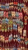 Beaded earrings. Hanging in a velvet display case in the Artisan`s Market in Otavalo, Ecuador royalty free stock photo