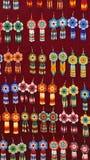 Beaded earrings. Hanging in a velvet display case in the Artisan`s Market in Otavalo, Ecuador stock photography