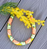 Beaded fashion Necklace `Harvest` on a deck Royalty Free Stock Photography