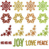 Beaded Glitter Christmas snowflake Ornaments stock photography