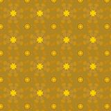 24K gold color floral pattern over golden background. Beaded golden flowers. seamless vector repeating floral pattern organized in geometric shapes and has a Royalty Free Stock Image